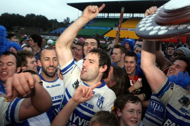 His Finest Moment: Celebrating Eastwood's memorable 2011 Grand Final win with the Woodies' faithful - Photo: Paul Seiser/SPA Images