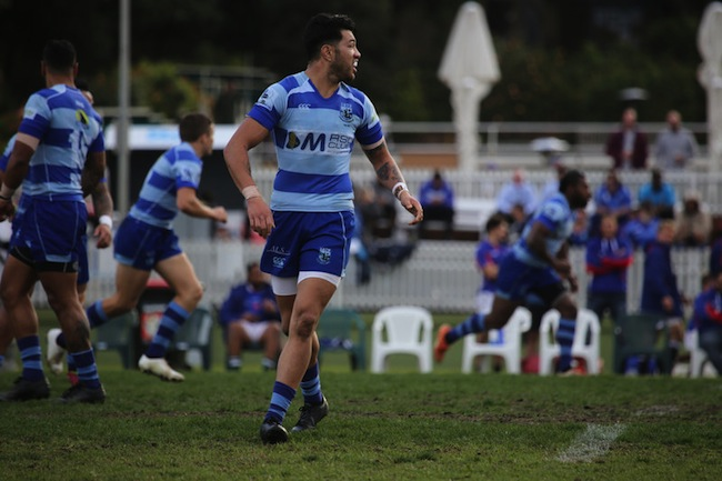 Larry Hermens was a standout for the Two Blues with his aggressive ball carries - Photo: Ben Tapealava