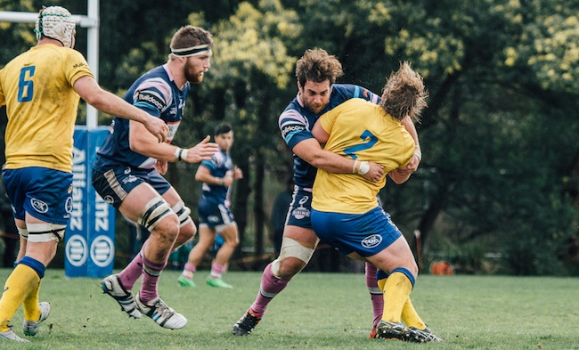 Chubb gets a hold of Brisbane City prop Andrew Ready - Photo: Darcy Tuppen Photography