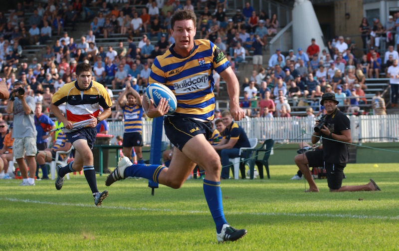 Angus Roberts in the clear for one of two tries against Manly- AJF